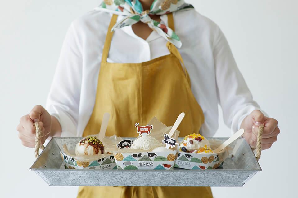 「HANDEL'S CAFE (ハンデルスカフェ)」三種類のミルクアイス食べ比べ