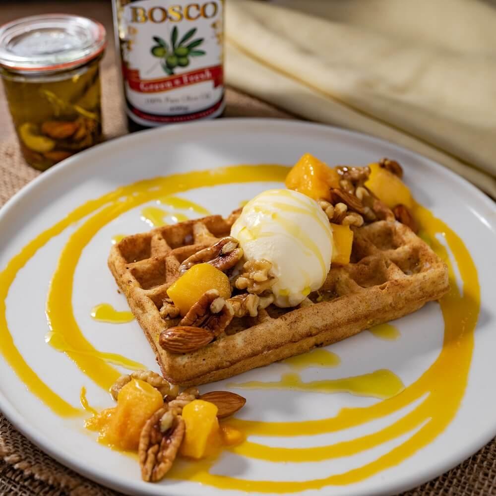 クラシル 食べるハーバリウムカフェ マンゴーとナッツのエキゾチックソースワッフル