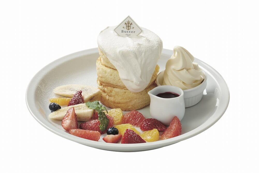 パンケーキ&カフェ「Butter」 ミックスフルーツのホワイトタワー