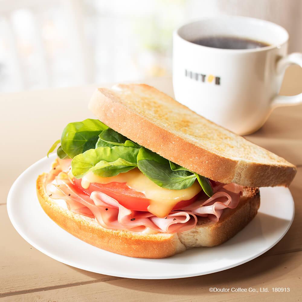 ドトールコーヒー 朝カフェ・セットB あつあつハムチーズ