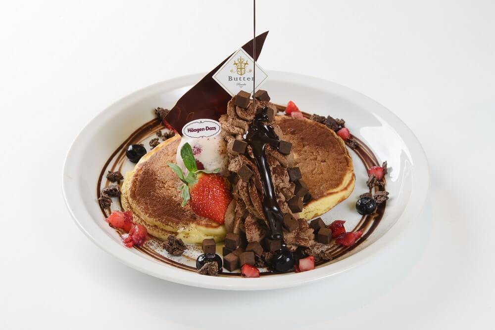 パンケーキ&カフェ『Butter(バター)』 ハーゲンダッツアイスクリーム DARKチョコパンケーキ 生チョコキューブ添え