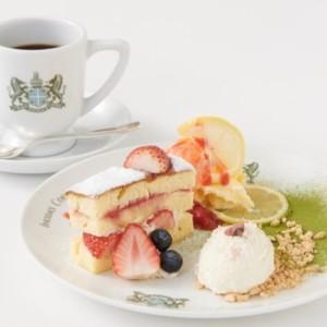 〈イノダコーヒ〉苺ショートと桜レアチーズのデザートプレート
