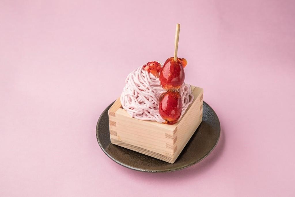 kawara CAFE&DINING ストロベリーキャンディーと苺の升モンブラン