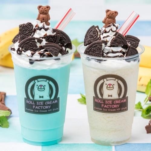 ロールアイスクリームファクトリー 「チョコバナナスムージー」と「チョコミントスムージー」