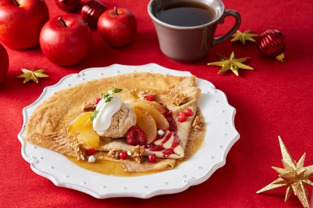 アフタヌーンティーラブ&テーブル ライ麦のクレープ 焼きりんごとキャラメルトフィーのカルバドスソース