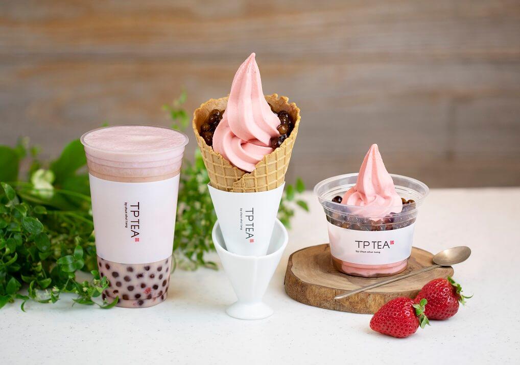 TP TEAタピオカ苺ソフトクリーム