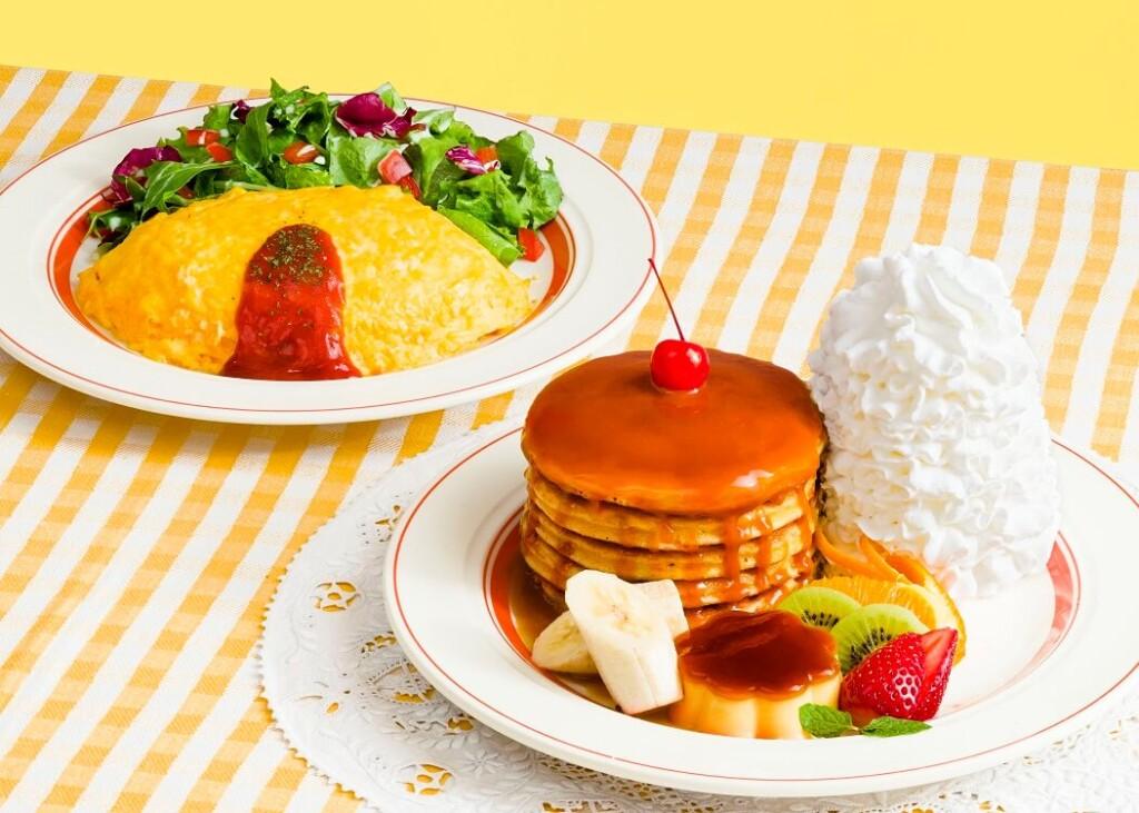 エッグスンシングス 『なつかしのパンケーキ・ア・ラ・モード』と『ハワイアンオムライス』
