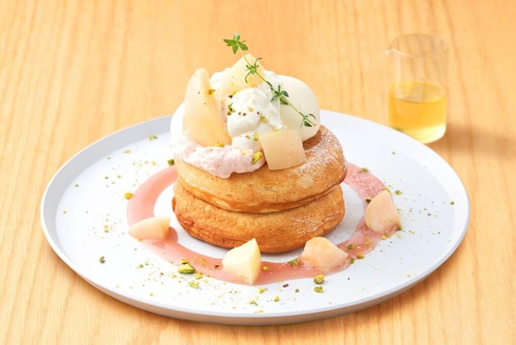 ビブリオテーク 白桃とマスカルポーネクリームのパンケーキ はちみつバニラレモンソース