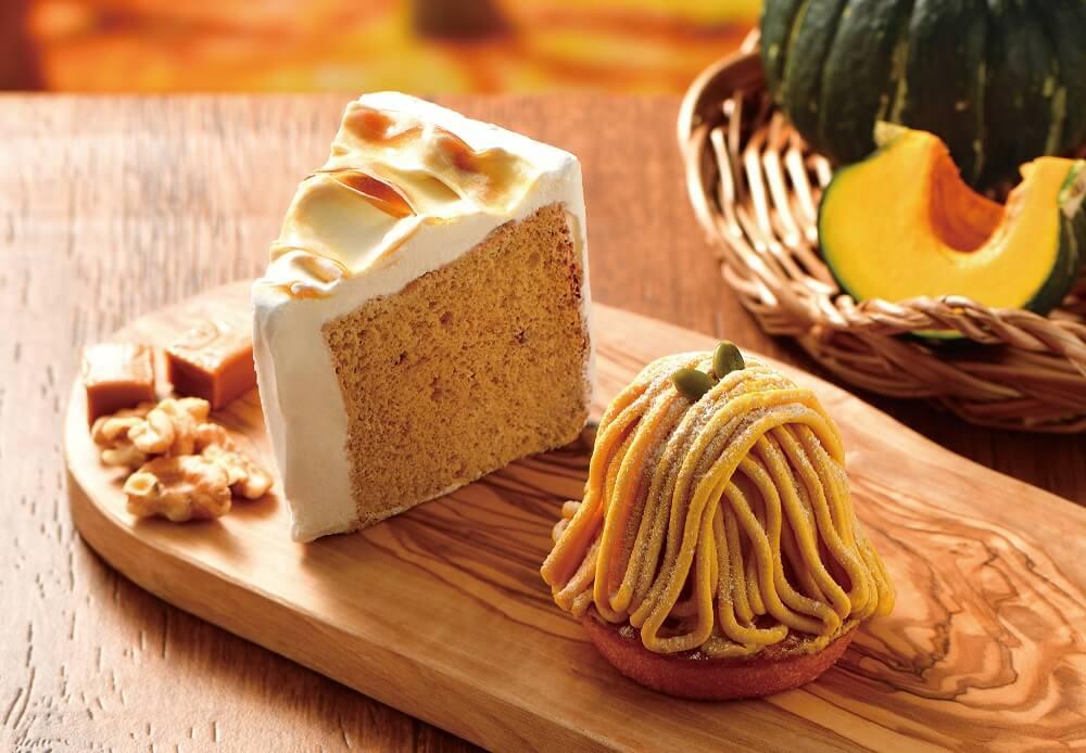 カフェドクリエ 『かぼちゃのモンブラン』『キャラメルとくるみのシフォンケーキ』