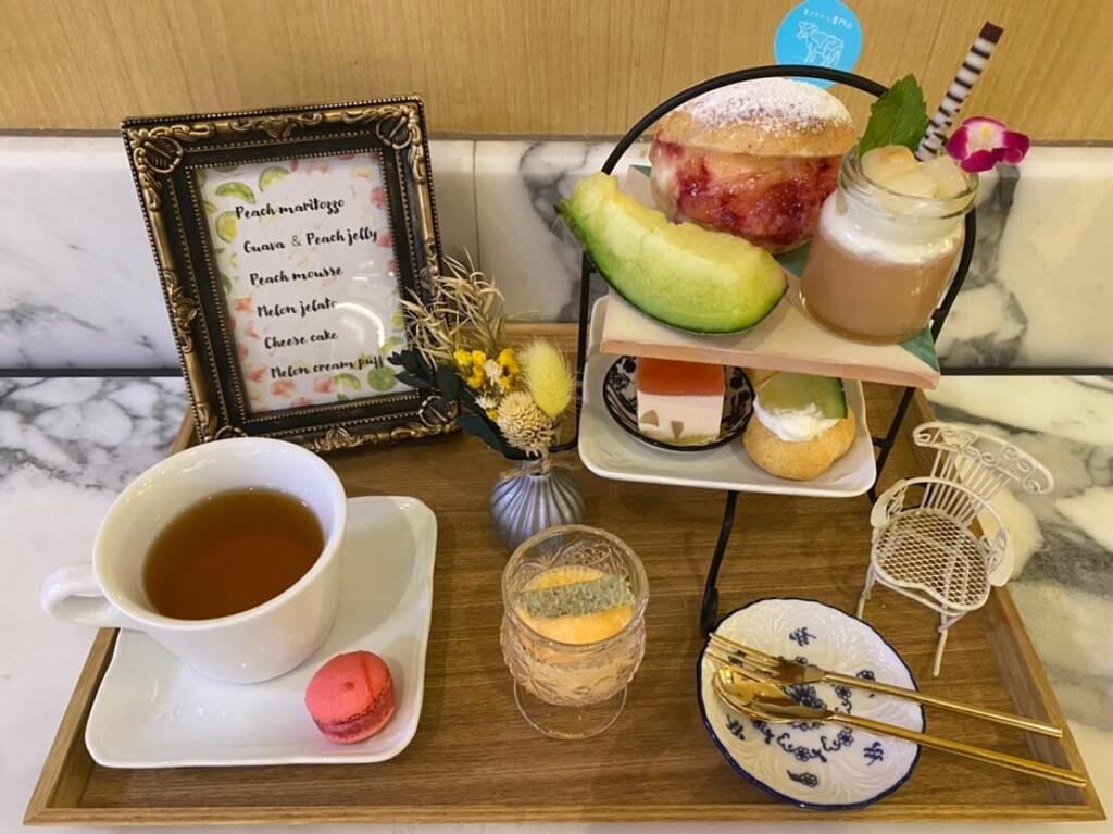 横浜スパゲティ&カフェ 旬の桃とメロンたっぷりのアフタヌーンティーセット