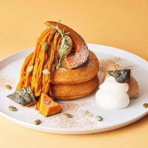 """【期間限定】ビブリオテークで有機栽培かぼちゃ""""くりりん""""を贅沢に使用した「モンブランクリームパンケーキ」を発売!"""