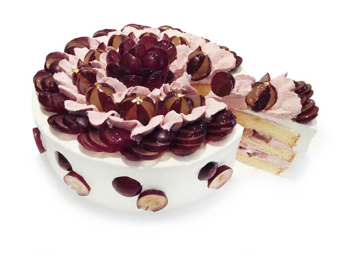 カフェコムサ 巨峰とグリオットクリームのショートケーキ