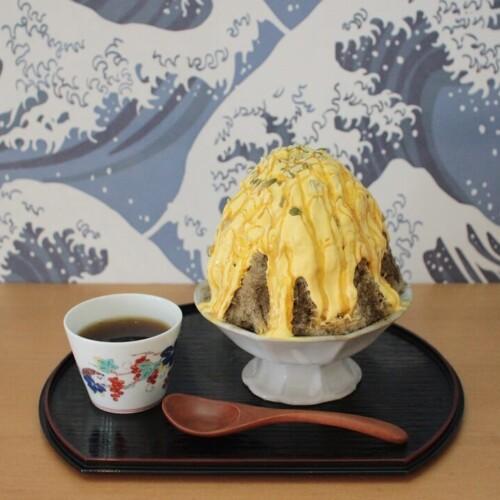 八屋 栗かぼちゃクリームとほうじ茶のかき氷