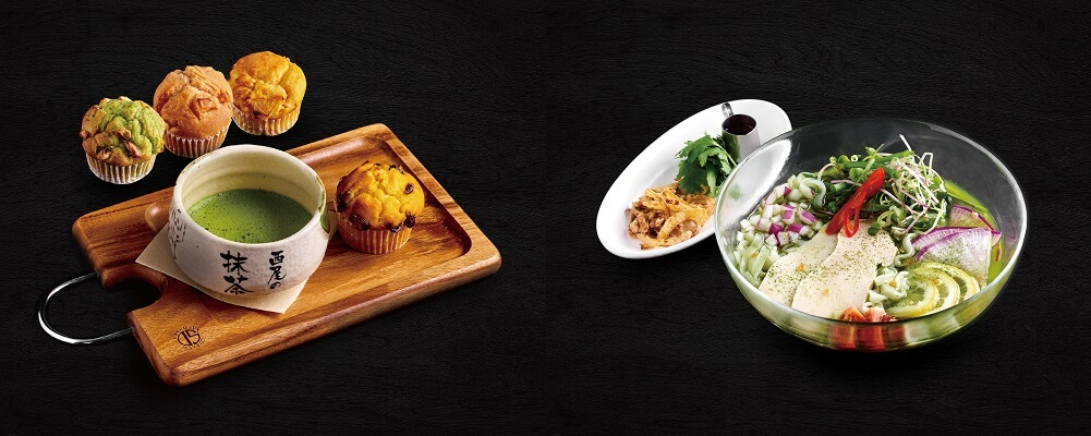 ジンナンカフェ 茶菓子セット / 西尾の抹茶と鶏肉の冷製フォー