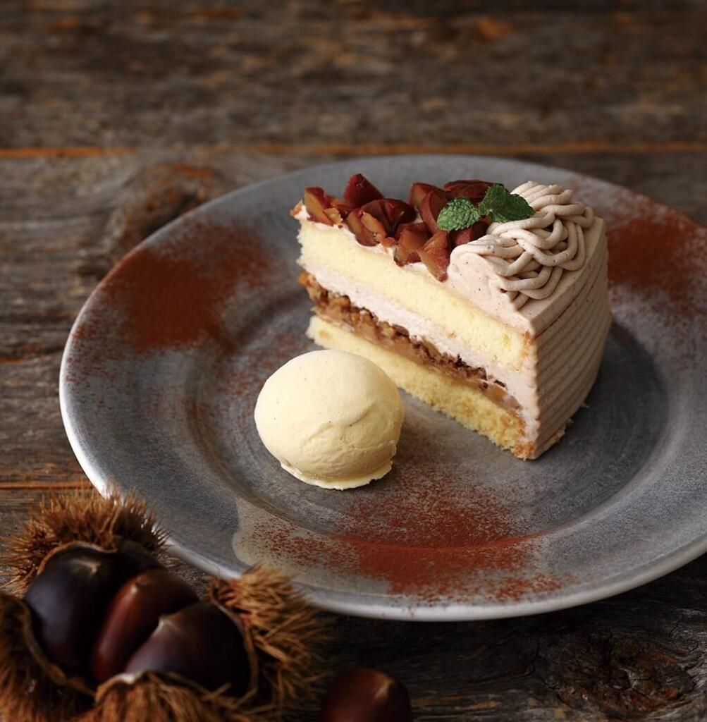 キハチカフェ 栗のショートケーキ バニラアイス添え
