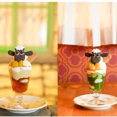 ひつじのショーンカフェ  ショーンの抹茶トライフル / ほうじ茶トライフル