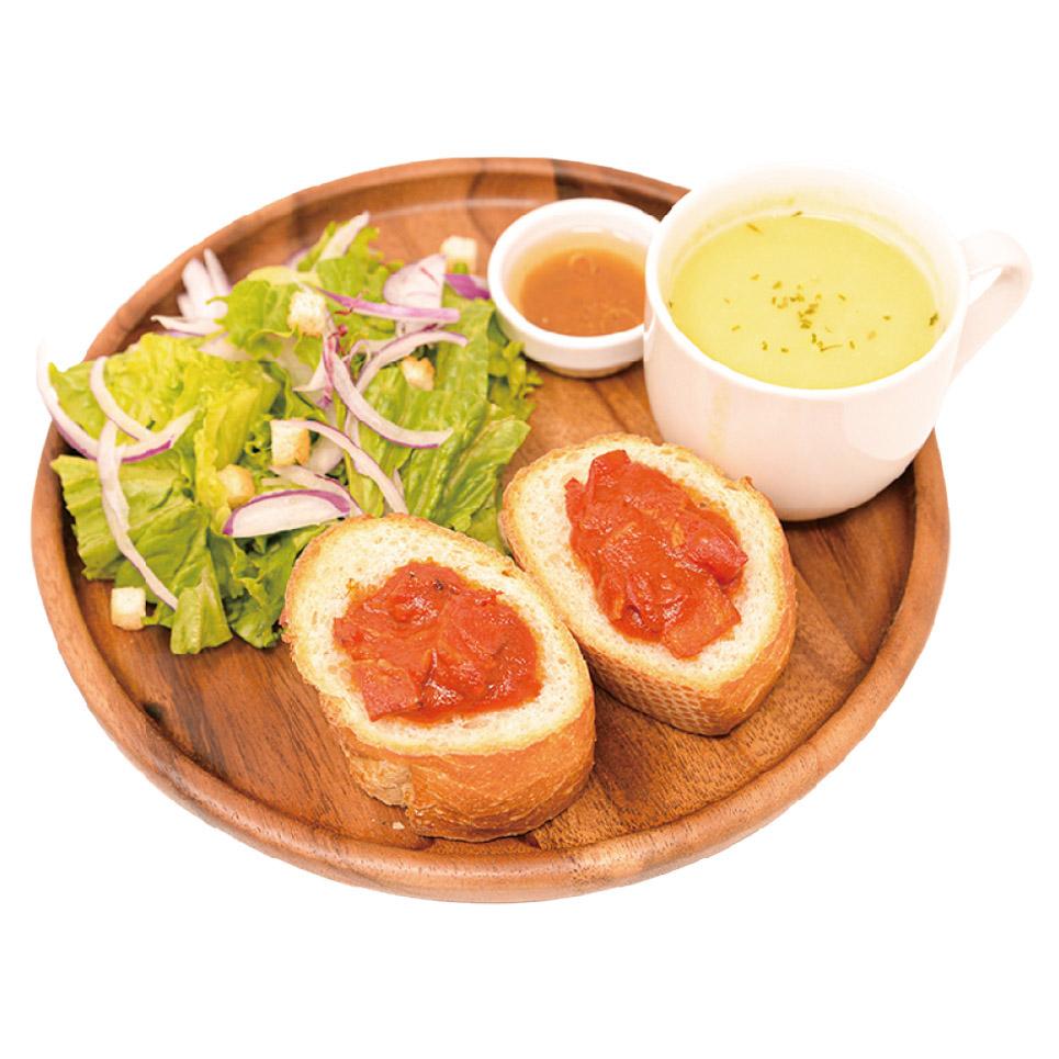 雪でも屋台で出来たてを食べるリリアス流 焼きトマトとパン