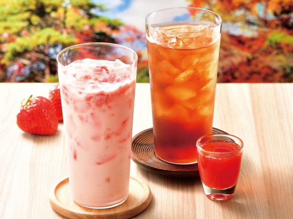カフェドクリエ 苺つぶつぶラッシー / 知覧のアイス紅茶